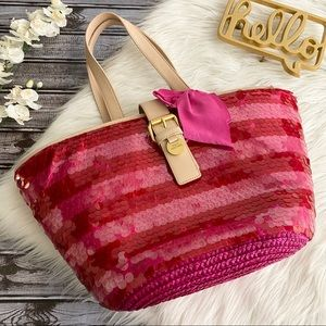 NWT Juicy Couture Sequin Straw Tote Pink Stripe
